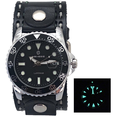 Nemesis luminous Night Vision diving watch with 1.5 inches double heavy stitch black leather cuff band, KDST277K