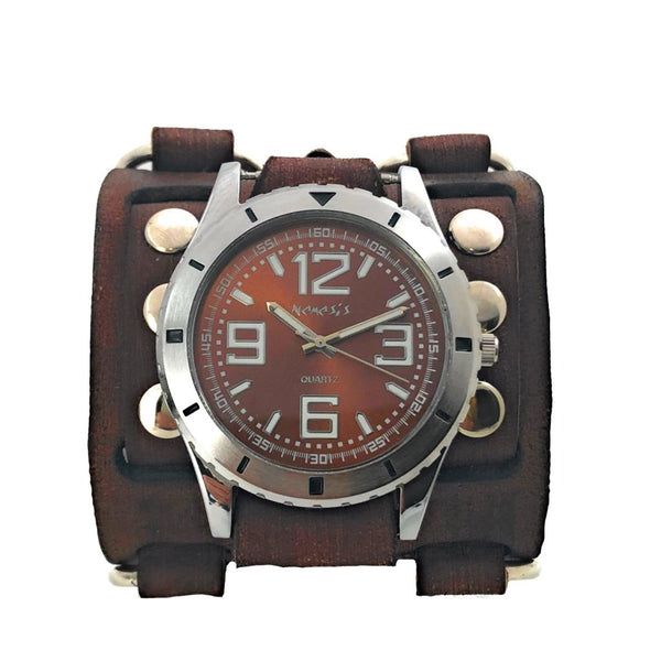 VWB096B Nemesis sport ncase with Brown detail 3 strips leather cuff band