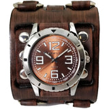 VWB096B Nemesis sport ncase with Brown detail 3 straps leather cuff band