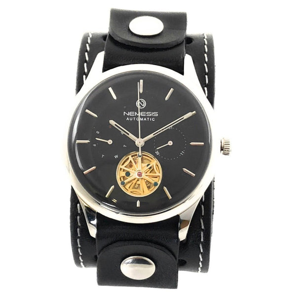 STH510K 5ATM water resistant Black Mechanical Tourbillon Auto Winding stainless steel watch with Black leather cuff watch band
