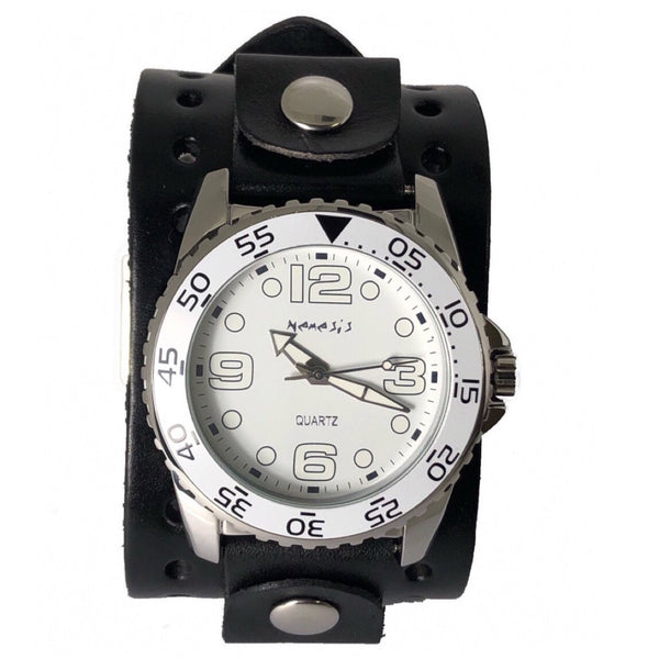 JB097W Nemesis white groovy watch with Black 2 inches wide leather cuff band