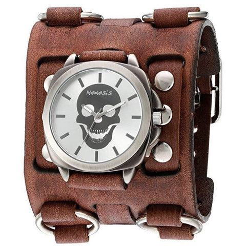 BFWB935S Silver Skull Head Watch with Faded Brown Wide Detail Ring Leather Cuff Band