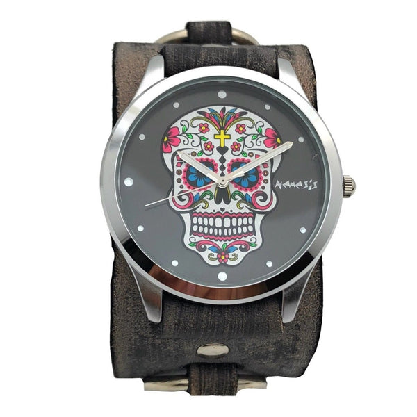 VRB925K black sugar skull watch with Vintage leather cuff band
