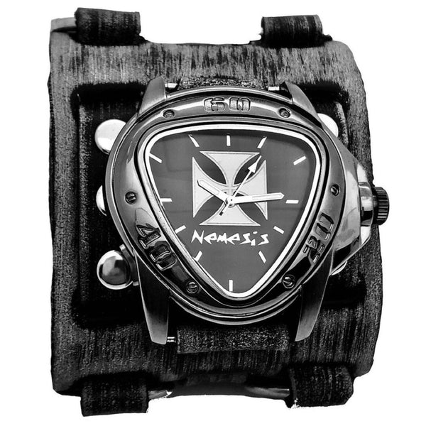 FWB938IC Iron Cross Gunmetal Watch with Faded Black Wide Detail Leather Cuff Band