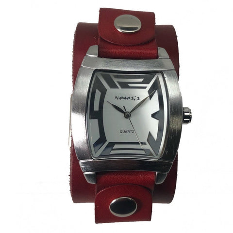 RGB067S Nemesis ladies rugged watch with  red leather cuff band