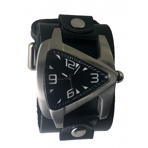 LBN011K Nemesis Black Teardrops watch with w 2 inches wide black leather cuff band