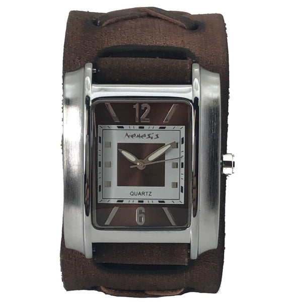 Vintage Brown/White Square in Square Watch with Faded Brown X Leather Cuff Band BFXB013B