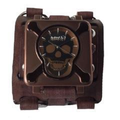 VWBB930B Nemesis Skull bone Brown Case Watch with vintage brown wide detailed leather cuff band
