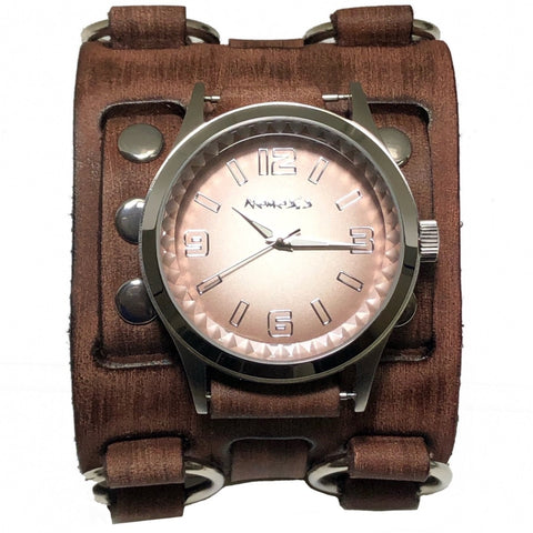 BFW217B nemesis cut crystal  watch with Brown vintage wide detailed leather cuff cuff band