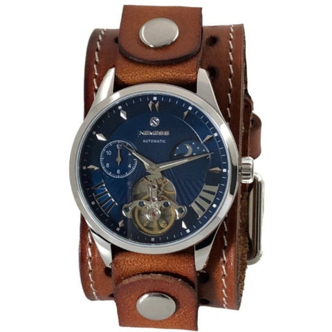 BSTH511L Stainless steel blue mechanical day & night auto winding waterproof watch with leather cuff watch band