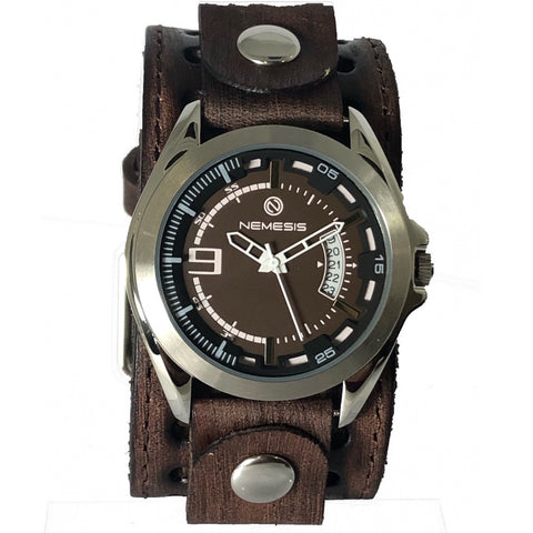 BVST270B Nemesis Sully stainless steel 5ATM water resistant Vintage brown leather cuff band