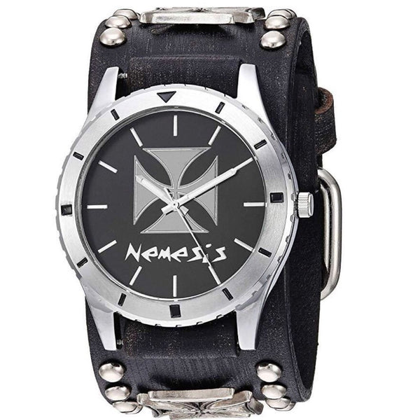 FMIC956C Black Iron Cross in Sporting Diver Case Watch with Faded Black Iron cross Leather Cuff Band