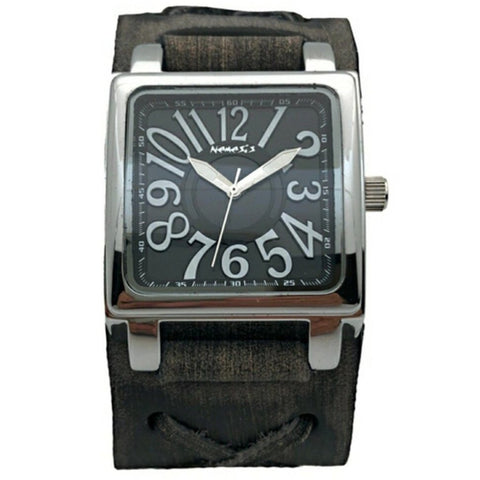 FXB526K Nemesis Unix square 3 d watch with Vintage leather cuff band