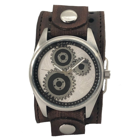 Silver Geared Nemesis Watch with Brown Vintage Stitched Leather Cuff Band VBST112S