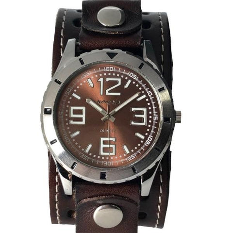 DSTH096B nemesis sporty diving case watch with bark brown leather cuff band