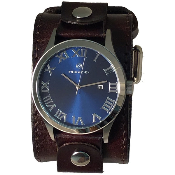 DLBB529L Nemesis stainless steel gems blue watch , with Dark brown 2 inches wide leather cuff bsnd