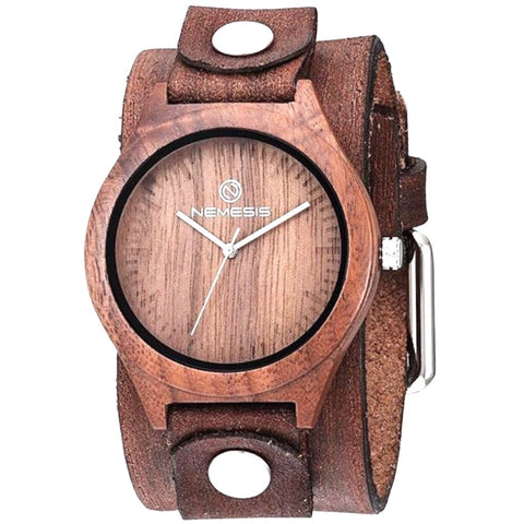 BFBN260B Nemesis natural wood case watch with vintage brown leather cuff