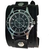 Nemesis LWB092K Black ladies watch with 1.5 inches wide double strap leather cuff band