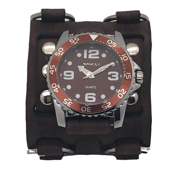 Brown Groovy Nemesis men's watch with Vintage Brown 3strip detailed wide leather cuff band BWB097B