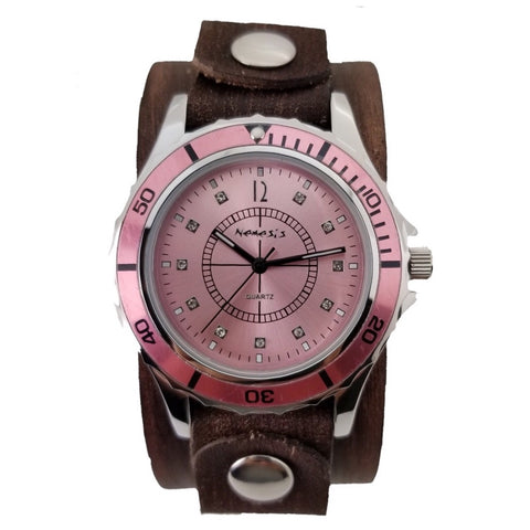 BVGB092P Nemesis pink Bella ladies watch with brown Vintage 9.5 inches leather cuff band
