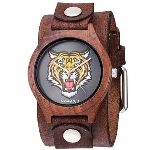 BFBN262T Nemesis Nature wood case watch in Tiger face with Vintage leather cuff band