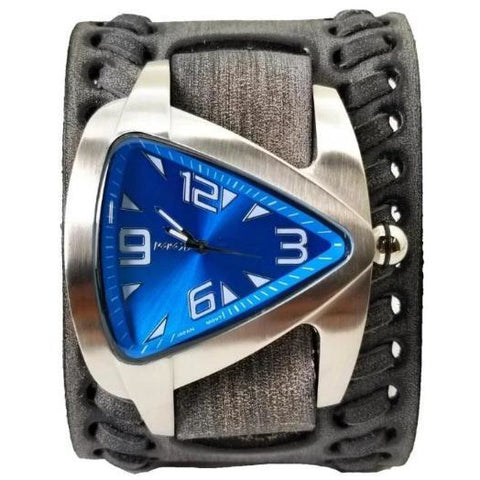 Blue Oversized Teardrop Watch with Faded Black Wide Weaved Vintage Style Leather Cuff Band VBDK011L