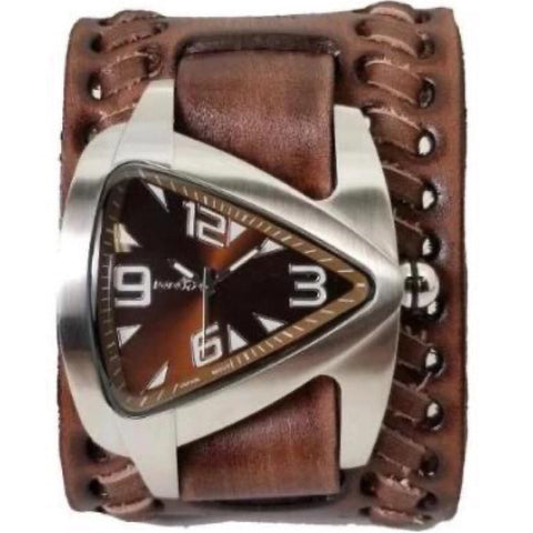 Brown Teardrop Watch with Faded Brown Wide Weaved Vintage Style Leather Cuff Band VBDB011B