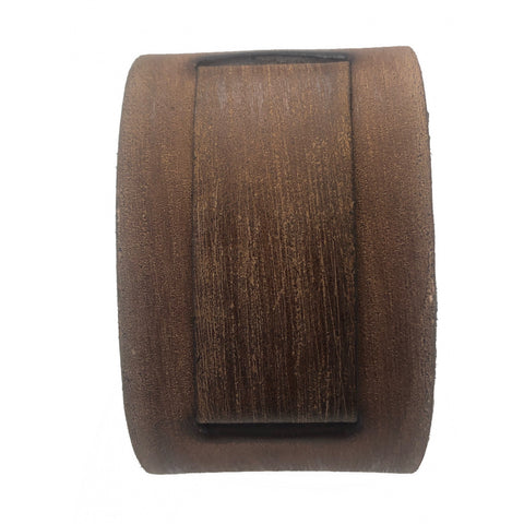 VBIN Vintage Brown 2 inches wide leather cuff band