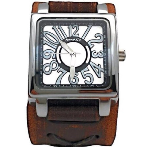 Nemesis square case 3 D dial watch with Brown Vintage x cuff leather band BFXB526S