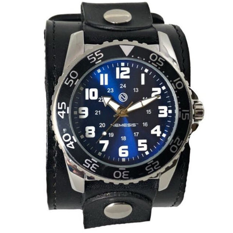 LBB257L Nemesis Super Glow Night Gems watch with Black leather cuff band