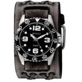 VDXB097K Black Groovy Men's Watch with Wide Faded Black Double X Leather Cuff Band
