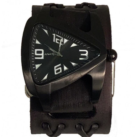 Nemesis VDXB061k IP Black teardrop watch with vintage black double x leather cuff band
