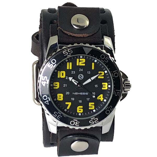 VBS257Y Nemesis night glow index sporting case watch with brown vintage leather cuff band