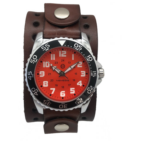 Nemesis Luminous Diver Orange face watch with 1.75 inches dark brown leather cuff brown leather cuff band DJB257N