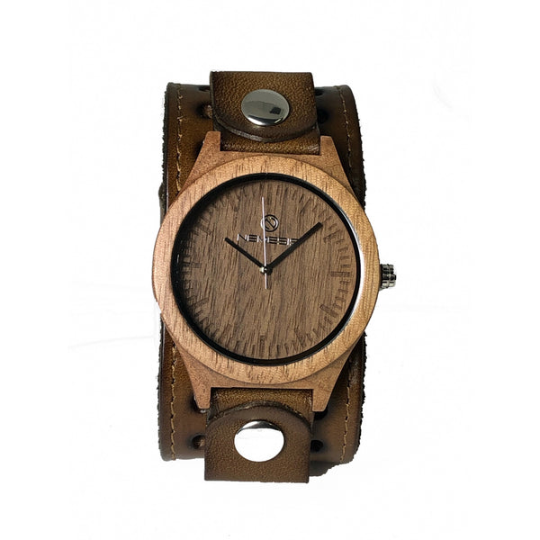 GST260B Nemesis wood watch with khaki color  leather cuff band