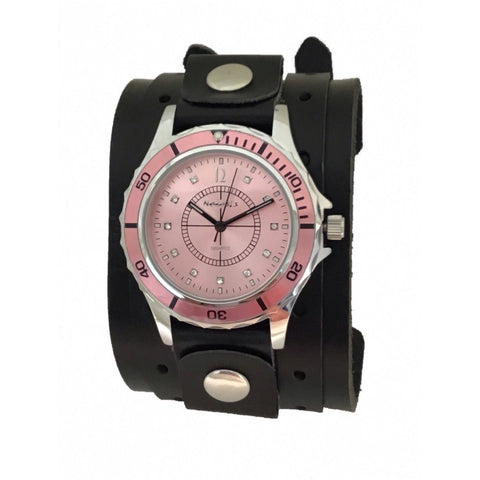 Nemesis LWB092P pink ladies watch with black double strap 9:5 inches leather cuff band