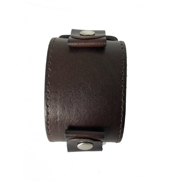 DBLBB Nemesis Fark Brown 2 inches wide leather cuff watch dand