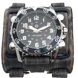 FWB257K Nemesis night super glow index 3 strips vintage leather cuff men's watch