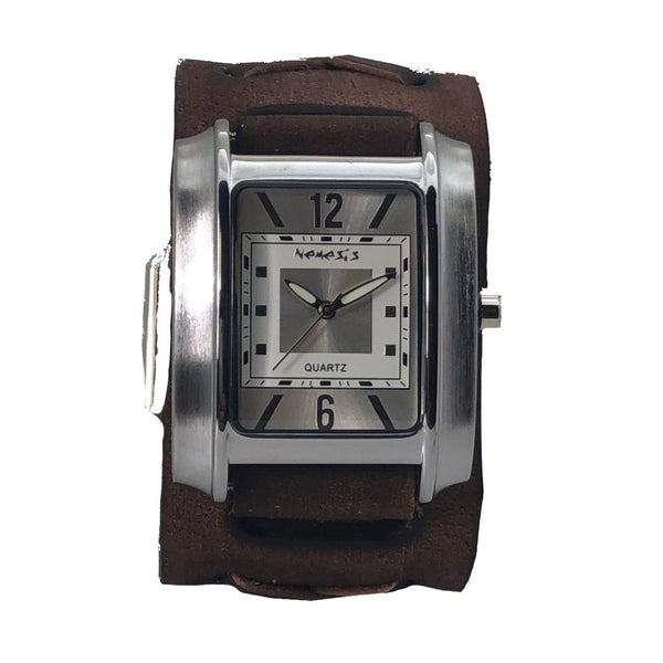 Vintage Silver/White Square in Square Watch with Vintage Brown Leather Cuff Band BFXB013S