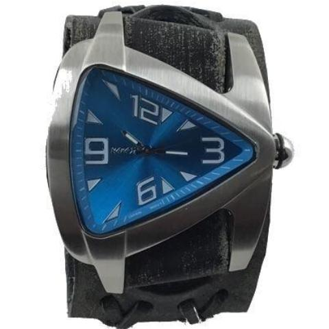 Vdxb011L Nemesis stainless steel teardrop triangle watch with vintage double wide leather cuff band
