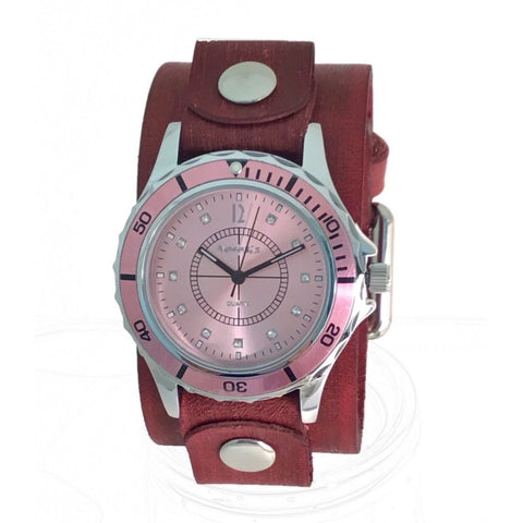 VPGB092P Nemesis pink ladies watch with vintage 9.5 inches pink leather cuff band