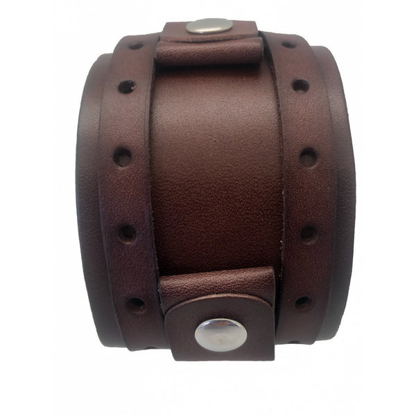 BLWB NEMESIS  ladies Dark Brown 1.5 inches 9.5 inches 2 Strap leather cuff watch band