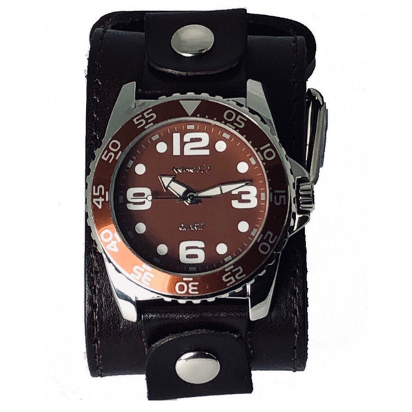 Nemesis DLBB097B Groovy men's  watch with 2 inches wide leather cuff band