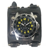 FWB257Y Nemesis vintage wide detailed lather cuff band diving watch