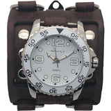 White Groovy Nemesis watch with Brown Vintage 3 strips detailed leather cuff wide band BFWB097W