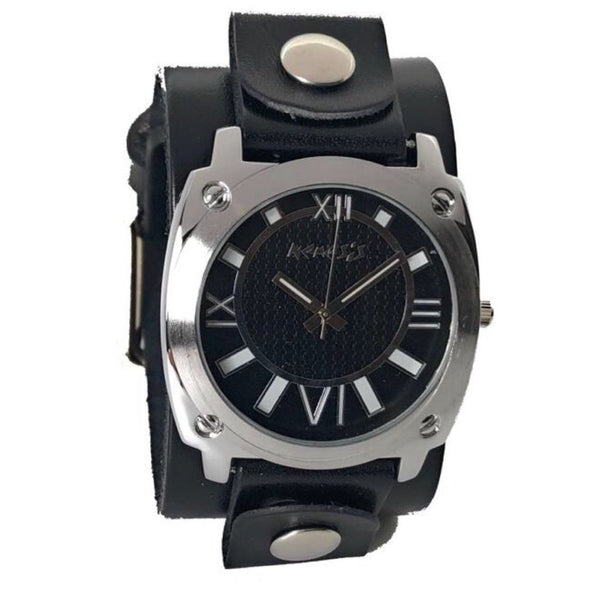 GB066K Nemesis Ladies Roamn Number black dial with black leather cuff band