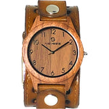BSTH266B wood case watch with light brown leather cuff band