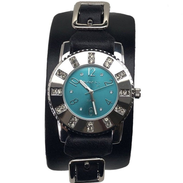 311B2BG Nemesis ladies trendy look crystal watch with Black leather cuff band