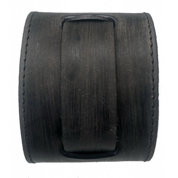 VKST 2 pcs 2.5 inches wide Charcoal leather cuff band