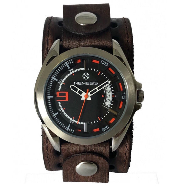 BVST270N nemesis Sully Stainless steel 5 ATM water resistant with brown vintage leather cuff band
